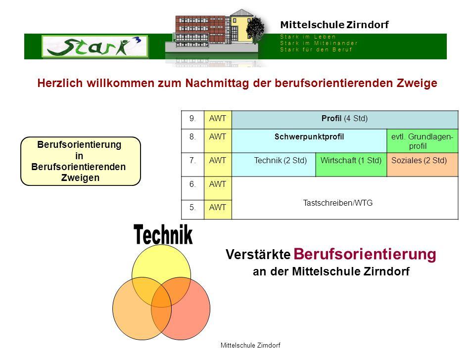 Mittelschule Zirndorf S t a r k i m L e b e n S t a r k i m M i t e i n a n d e r S t a r k f ü r d e n B e r u f Mittelschule Zirndorf Berufsorientierung in Berufsorientierenden Zweigen 9.AWTProfil (4 Std) 8.AWTSchwerpunktprofilevtl.