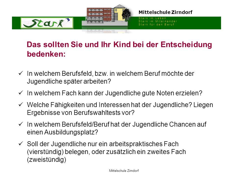 Mittelschule Zirndorf S t a r k i m L e b e n S t a r k i m M i t e i n a n d e r S t a r k f ü r d e n B e r u f Mittelschule Zirndorf Das sollten Si