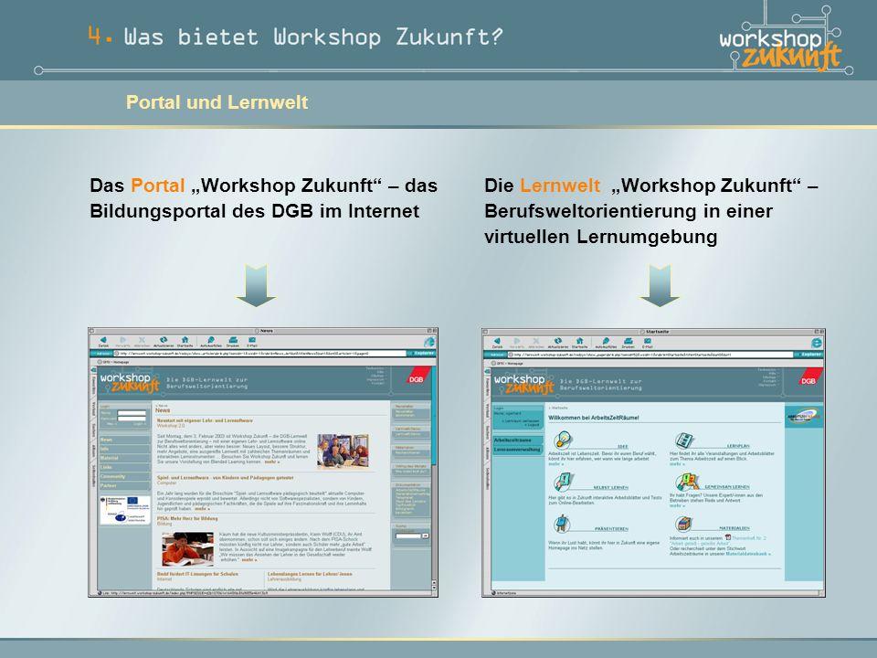 """Die Lernwelt """"Workshop Zukunft – Berufsweltorientierung in einer virtuellen Lernumgebung Das Portal """"Workshop Zukunft – das Bildungsportal des DGB im Internet Portal und Lernwelt"""