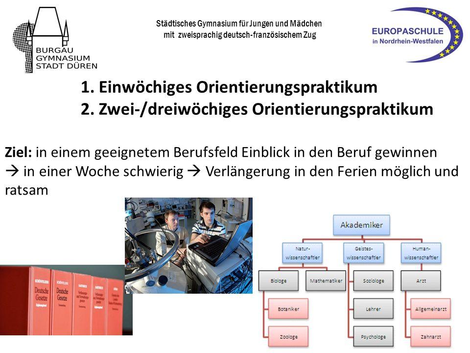 Städtisches Gymnasium für Jungen und Mädchen mit zweisprachig deutsch-französischem Zug Umsetzung: Das Duale Orientierungspraktikum besteht aus zwei Elementen: 1.