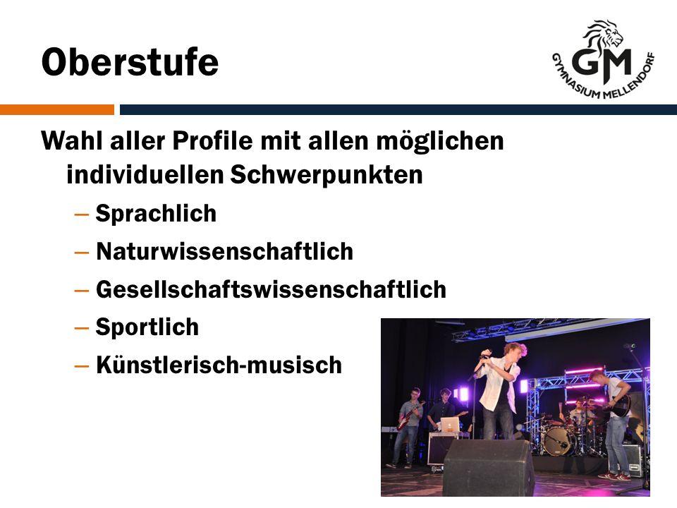 Oberstufe Wahl aller Profile mit allen möglichen individuellen Schwerpunkten – Sprachlich – Naturwissenschaftlich – Gesellschaftswissenschaftlich – Sportlich – Künstlerisch-musisch