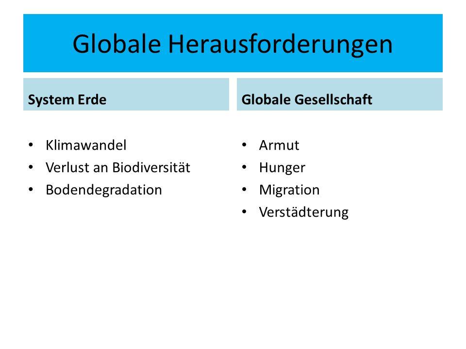Globale Herausforderungen System Erde Klimawandel Verlust an Biodiversität Bodendegradation Globale Gesellschaft Armut Hunger Migration Verstädterung