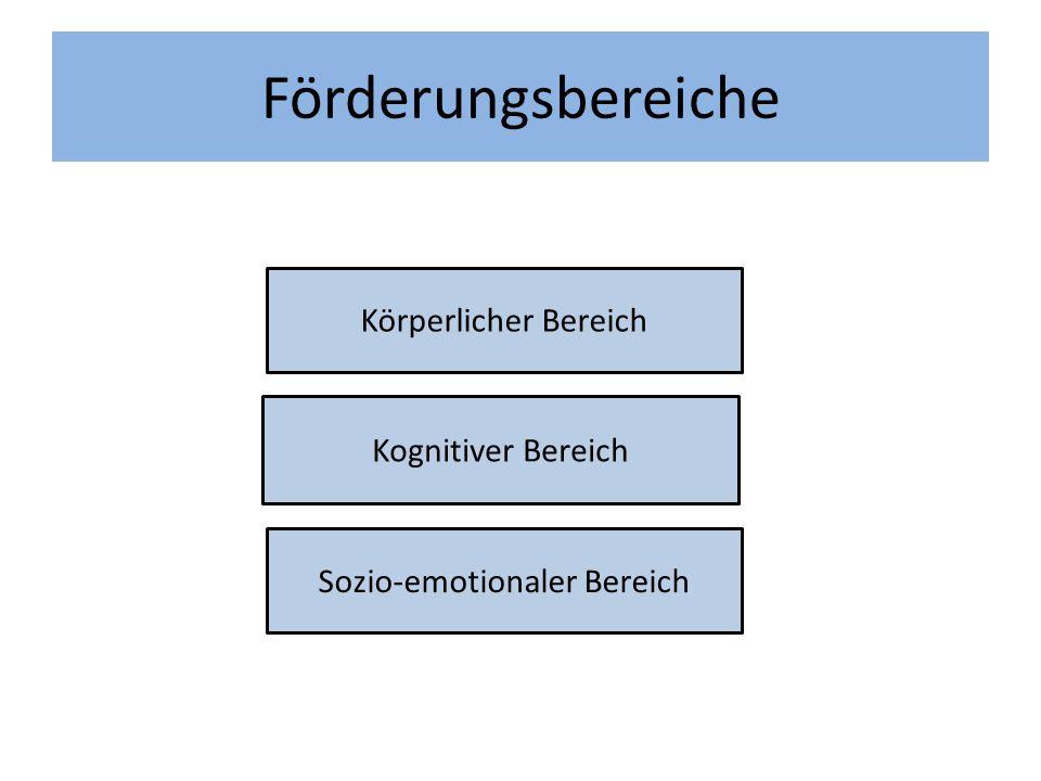 Förderungsbereiche Körperlicher Bereich Kognitiver Bereich Sozio-emotionaler Bereich