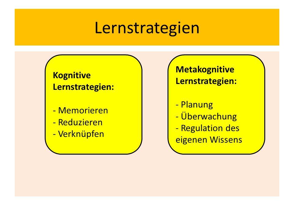 Lernstrategien Kognitive Lernstrategien: - Memorieren - Reduzieren - Verknüpfen Metakognitive Lernstrategien: - Planung - Überwachung - Regulation des eigenen Wissens