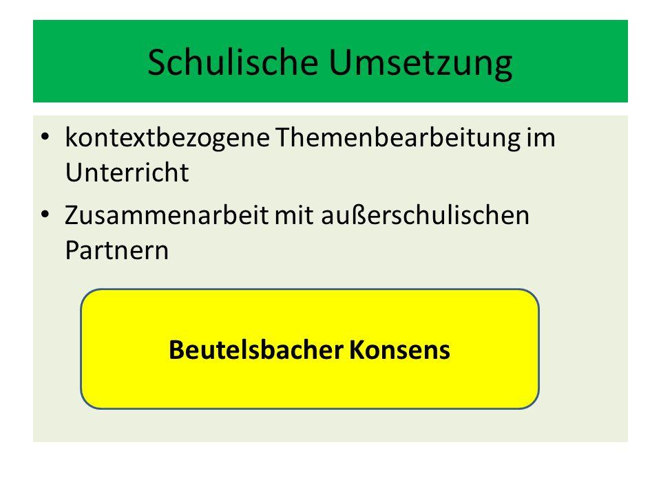 Schulische Umsetzung kontextbezogene Themenbearbeitung im Unterricht Zusammenarbeit mit außerschulischen Partnern Beutelsbacher Konsens