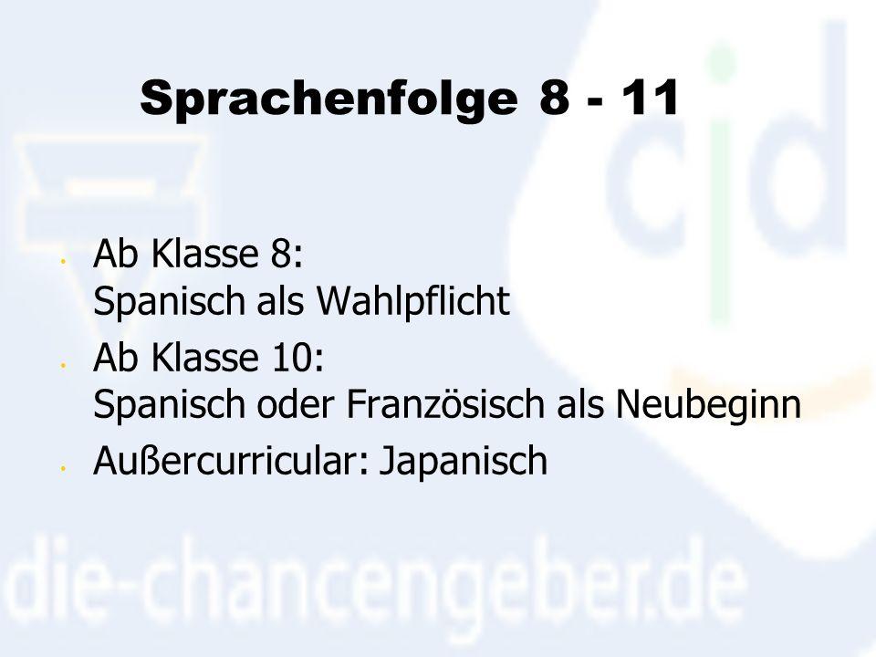Sprachenfolge 8 - 11 Ab Klasse 8: Spanisch als Wahlpflicht Ab Klasse 10: Spanisch oder Französisch als Neubeginn Außercurricular: Japanisch