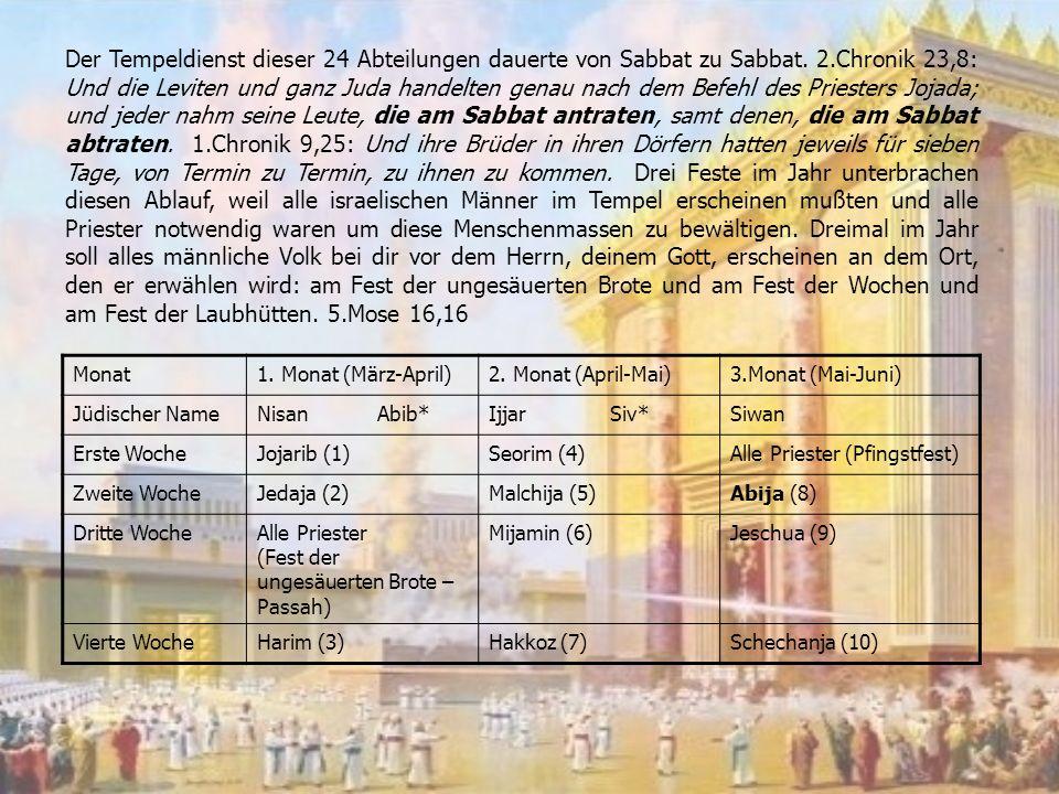 Der Tempeldienst dieser 24 Abteilungen dauerte von Sabbat zu Sabbat.