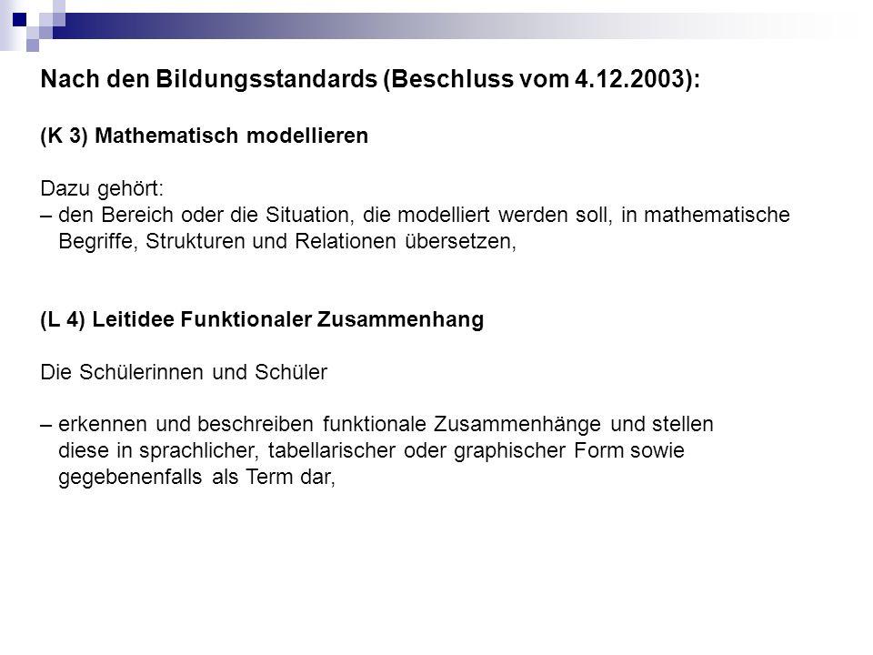 Nach den Bildungsstandards (Beschluss vom 4.12.2003): (K 3) Mathematisch modellieren Dazu gehört: – den Bereich oder die Situation, die modelliert wer