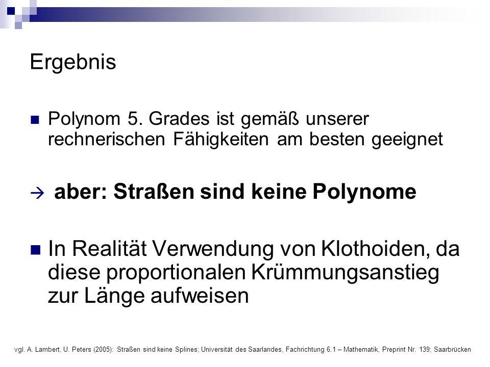 Ergebnis Polynom 5. Grades ist gemäß unserer rechnerischen Fähigkeiten am besten geeignet  aber: Straßen sind keine Polynome In Realität Verwendung v