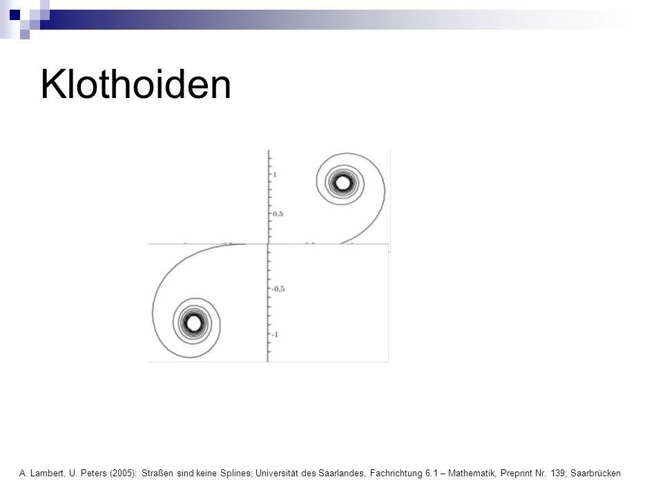 Klothoiden A. Lambert, U. Peters (2005): Straßen sind keine Splines; Universität des Saarlandes, Fachrichtung 6.1 – Mathematik, Preprint Nr. 139; Saar