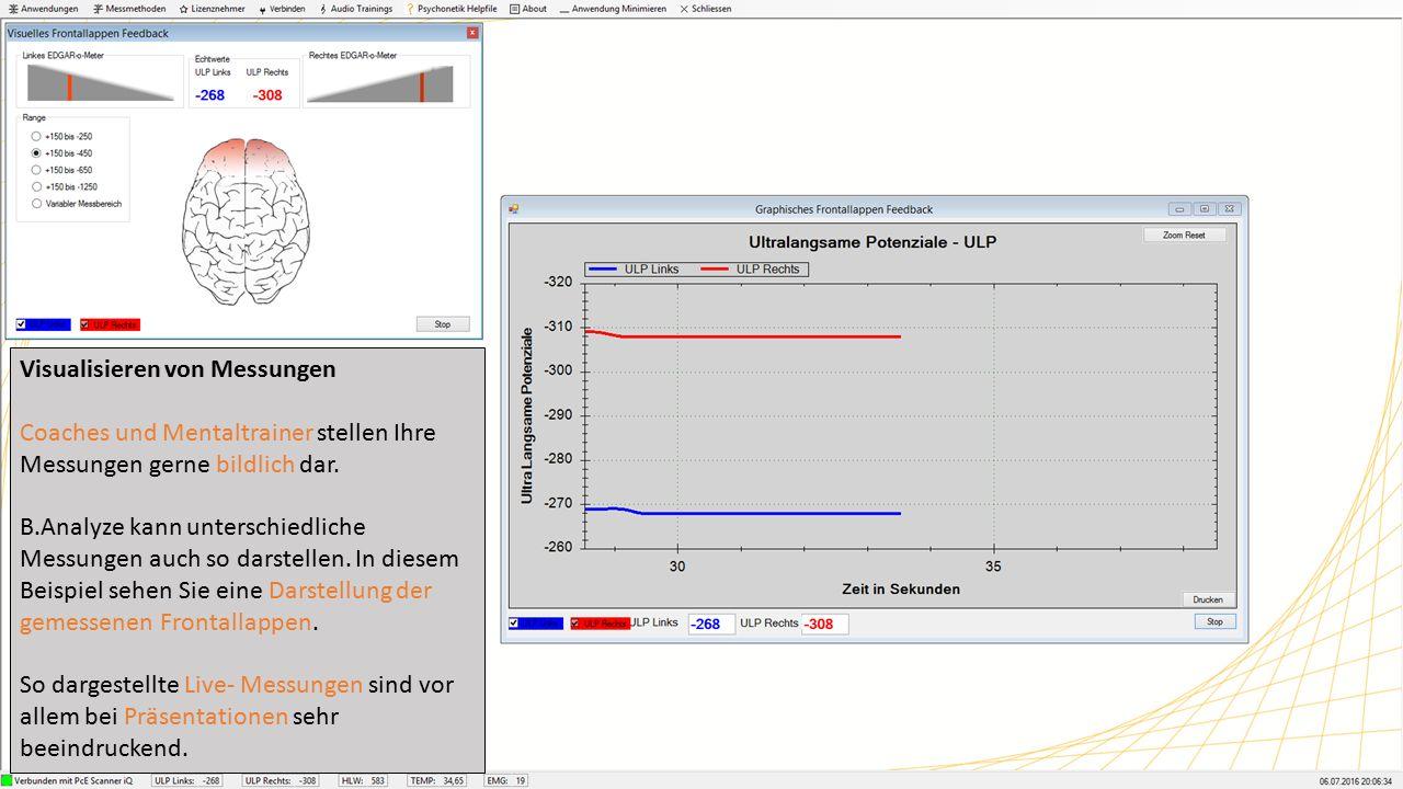 Elektromyographie (EMG) Die EMG- Messung wird unter B.Analyze in einer Form dargestellt, welche die gemessene Muskelspannung feedbackbar und leicht verständlich darstellbar macht.