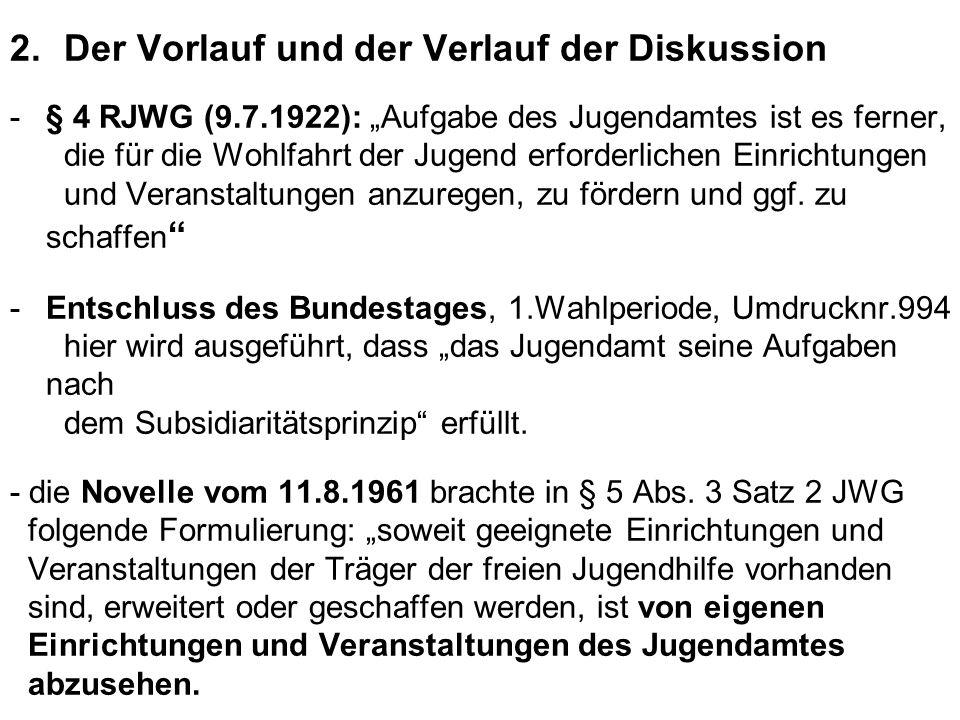 """2.Der Vorlauf und der Verlauf der Diskussion -§ 4 RJWG (9.7.1922): """"Aufgabe des Jugendamtes ist es ferner, die für die Wohlfahrt der Jugend erforderlichen Einrichtungen und Veranstaltungen anzuregen, zu fördern und ggf."""