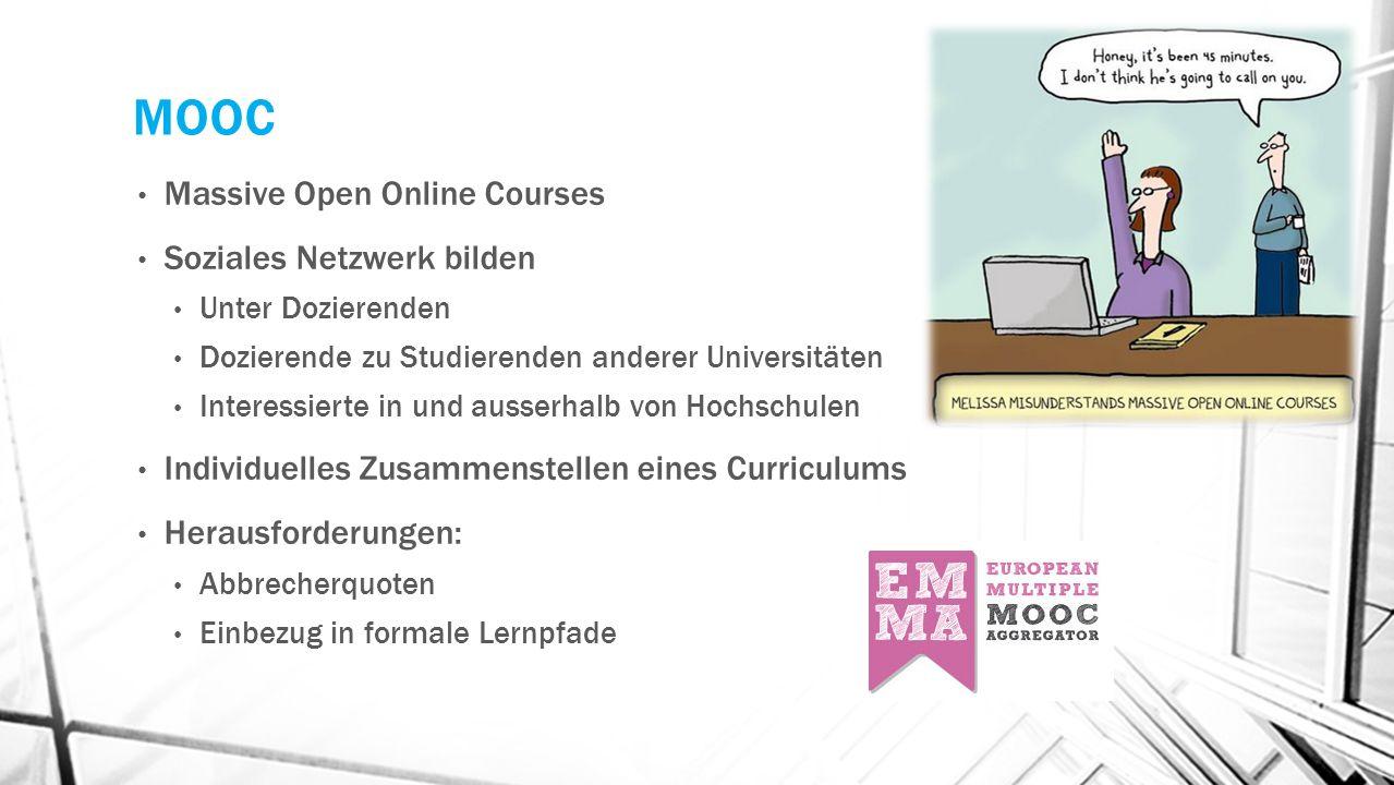 MOOC Massive Open Online Courses Soziales Netzwerk bilden Unter Dozierenden Dozierende zu Studierenden anderer Universitäten Interessierte in und ausserhalb von Hochschulen Individuelles Zusammenstellen eines Curriculums Herausforderungen: Abbrecherquoten Einbezug in formale Lernpfade