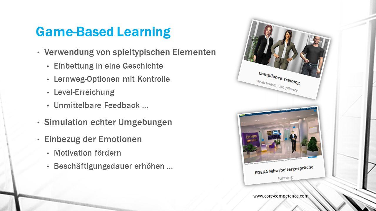 Game-Based Learning Verwendung von spieltypischen Elementen Einbettung in eine Geschichte Lernweg-Optionen mit Kontrolle Level-Erreichung Unmittelbare