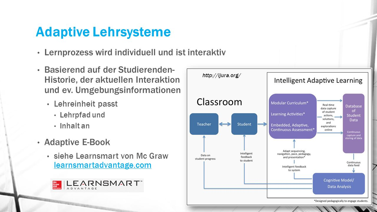 Adaptive Lehrsysteme Lernprozess wird individuell und ist interaktiv Basierend auf der Studierenden- Historie, der aktuellen Interaktion und ev. Umgeb