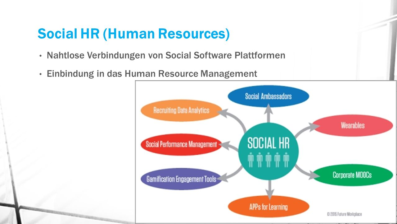 Social HR (Human Resources) Nahtlose Verbindungen von Social Software Plattformen Einbindung in das Human Resource Management