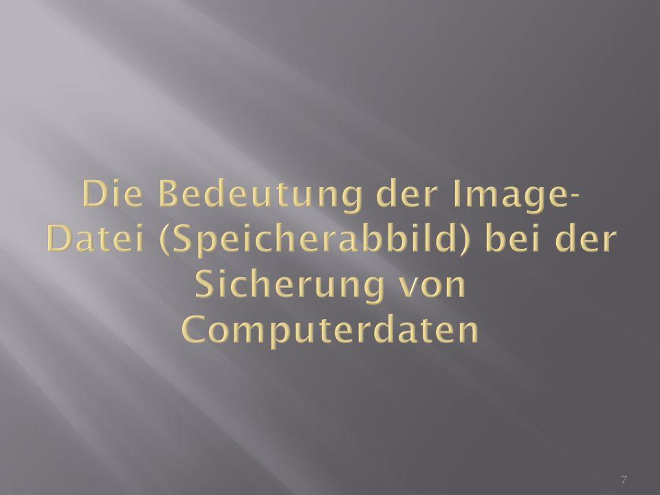 Ein Speicherabbild oder Datenträgerabbild (kurz Abbild, englisch image ) ist eine Abbildung eines Datenträgers oder Datenspeichers, welches – beispielsweise von einem Arbeitsspeicher, einer Festplatte, Partition, CD/DVD – in einer Datei erstellt werden kann.