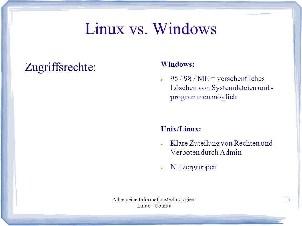 Allgemeine Informationstechnologien: Linux - Ubuntu 15 Linux vs.