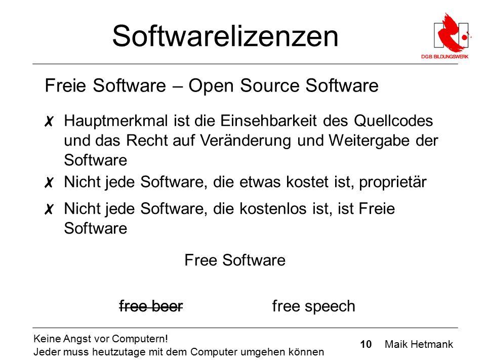 10 Maik Hetmank Keine Angst vor Computern! Jeder muss heutzutage mit dem Computer umgehen können Softwarelizenzen Freie Software – Open Source Softwar