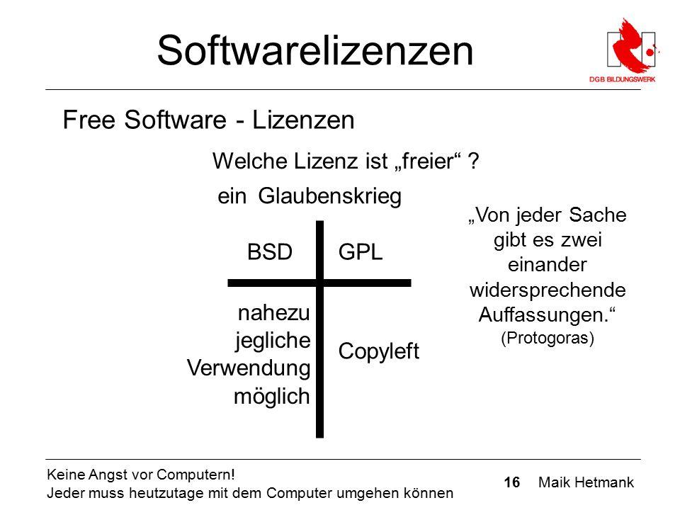 16 Maik Hetmank Keine Angst vor Computern! Jeder muss heutzutage mit dem Computer umgehen können Softwarelizenzen Free Software - Lizenzen Glaubenskri
