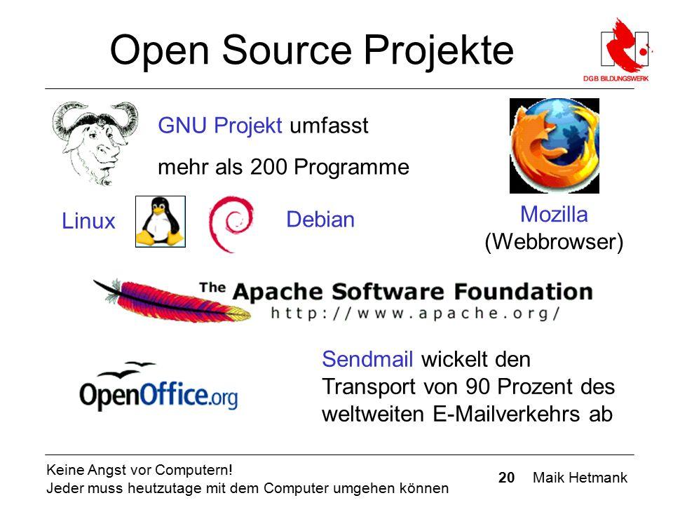 20 Maik Hetmank Keine Angst vor Computern! Jeder muss heutzutage mit dem Computer umgehen können Open Source Projekte GNU Projekt umfasst mehr als 200