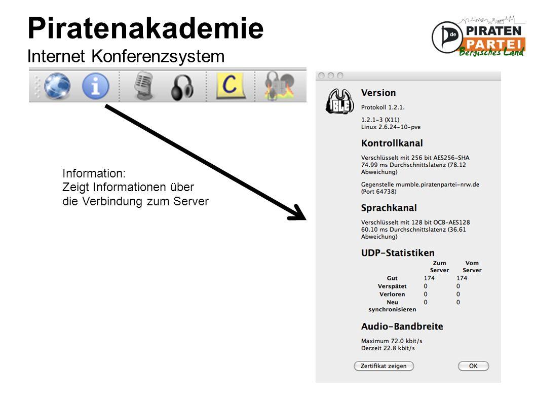 Piratenakademie Internet Konferenzsystem Information: Zeigt Informationen über die Verbindung zum Server