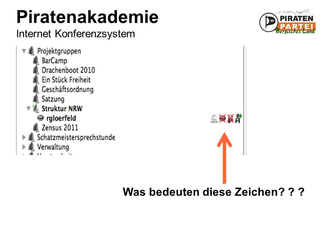 Piratenakademie Internet Konferenzsystem Was bedeuten diese Zeichen? ? ?
