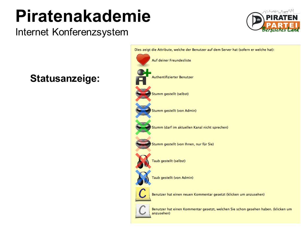 Piratenakademie Internet Konferenzsystem Statusanzeige:
