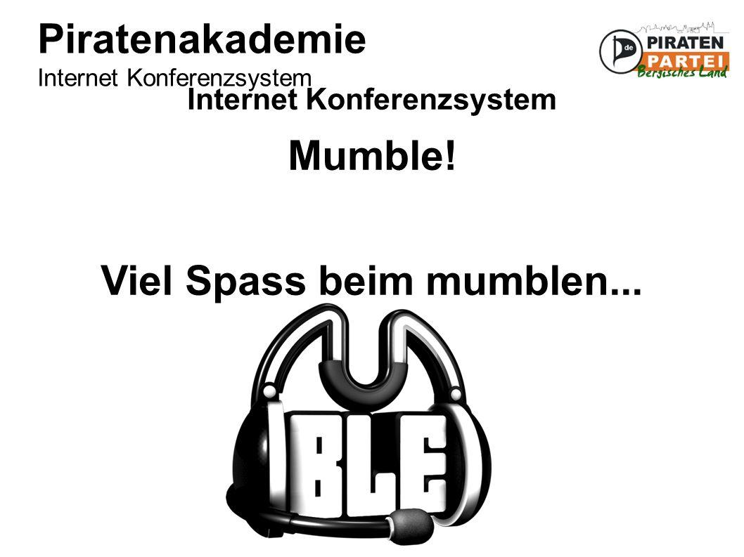 Piratenakademie Internet Konferenzsystem Internet Konferenzsystem Mumble.