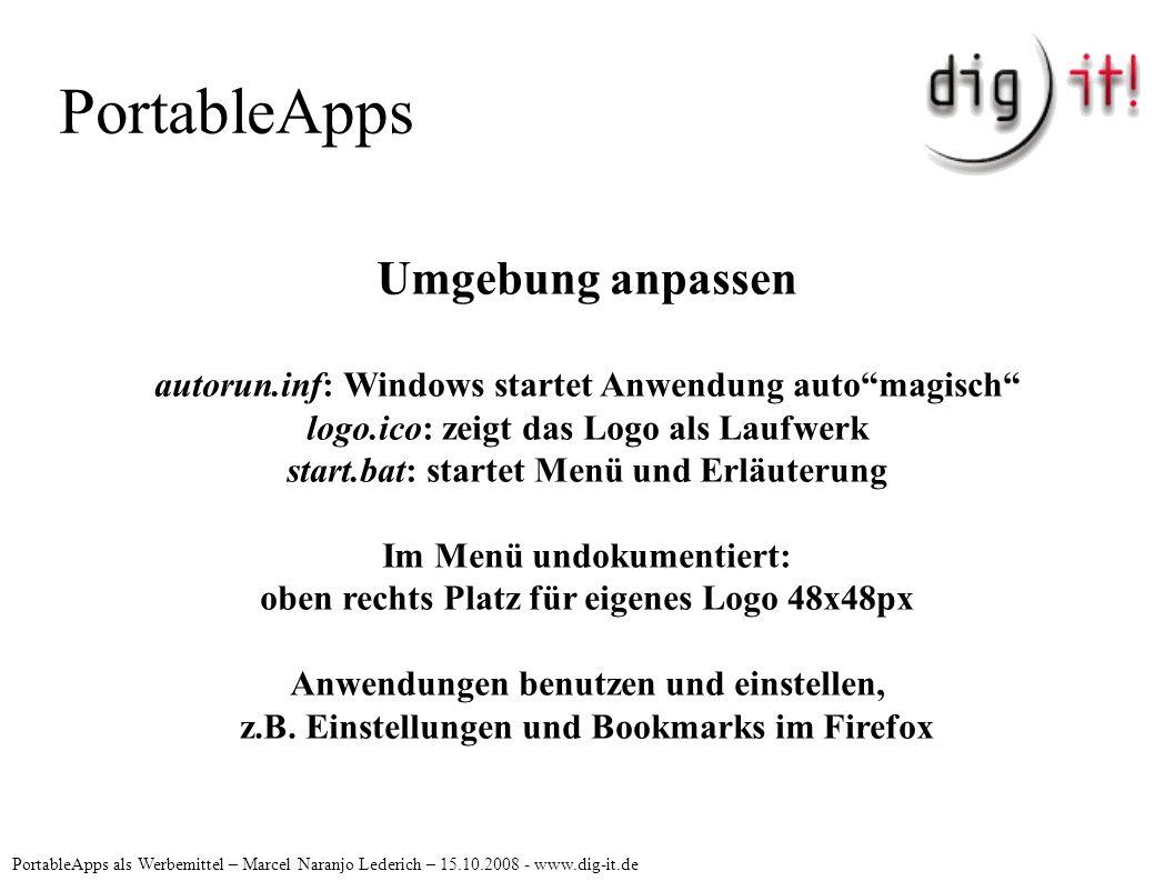 PortableApps PortableApps als Werbemittel – Marcel Naranjo Lederich – 15.10.2008 - www.dig-it.de Umgebung anpassen autorun.inf: Windows startet Anwend