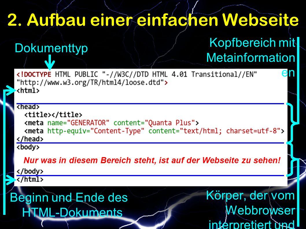 2. Aufbau einer einfachen Webseite Dokumenttyp Beginn und Ende des HTML-Dokuments Kopfbereich mit Metainformation en Körper, der vom Webbrowser interp