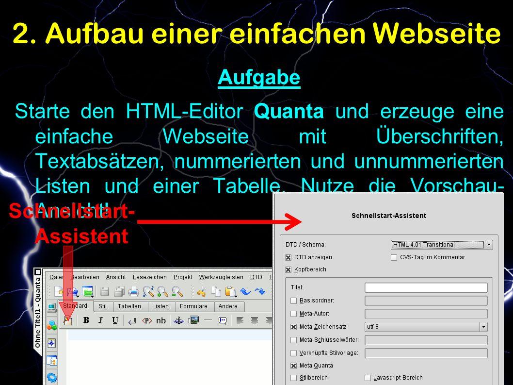 2. Aufbau einer einfachen Webseite Aufgabe Starte den HTML-Editor Quanta und erzeuge eine einfache Webseite mit Überschriften, Textabsätzen, nummerier