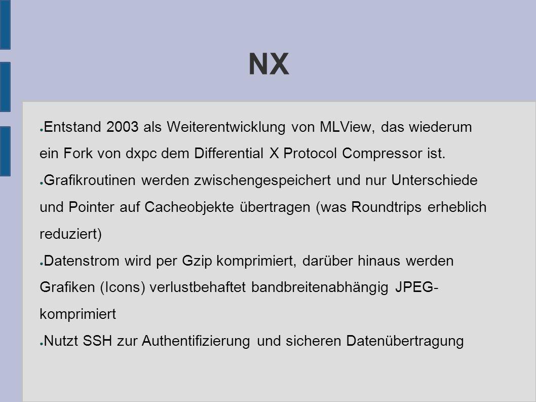 NX ● Entstand 2003 als Weiterentwicklung von MLView, das wiederum ein Fork von dxpc dem Differential X Protocol Compressor ist.