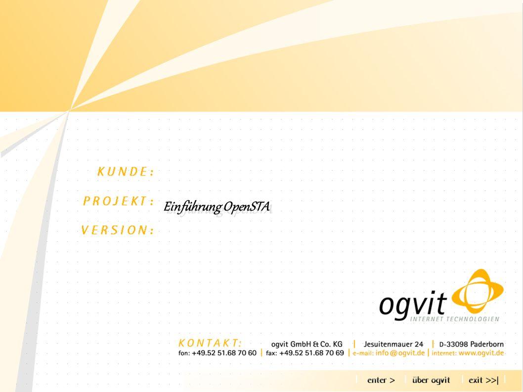Agenda - über OGVIT - Warum Lasttests - Was ist OpenSTA - Wie arbeitet OpenSTA - Skripte für OpenSTA - OpenSTA Collectors - Tests planen - Testen - Ergebnisse analysieren - Beispiel Agenda - über OGVIT - Warum Lasttests - Was ist OpenSTA - Wie arbeitet OpenSTA - Skripte für OpenSTA - OpenSTA Collectors - Tests planen - Testen - Ergebnisse analysieren - Beispiel