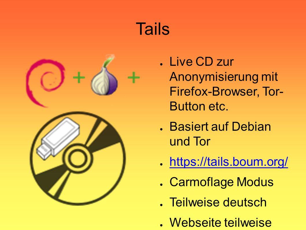 Tails ● Live CD zur Anonymisierung mit Firefox-Browser, Tor- Button etc.