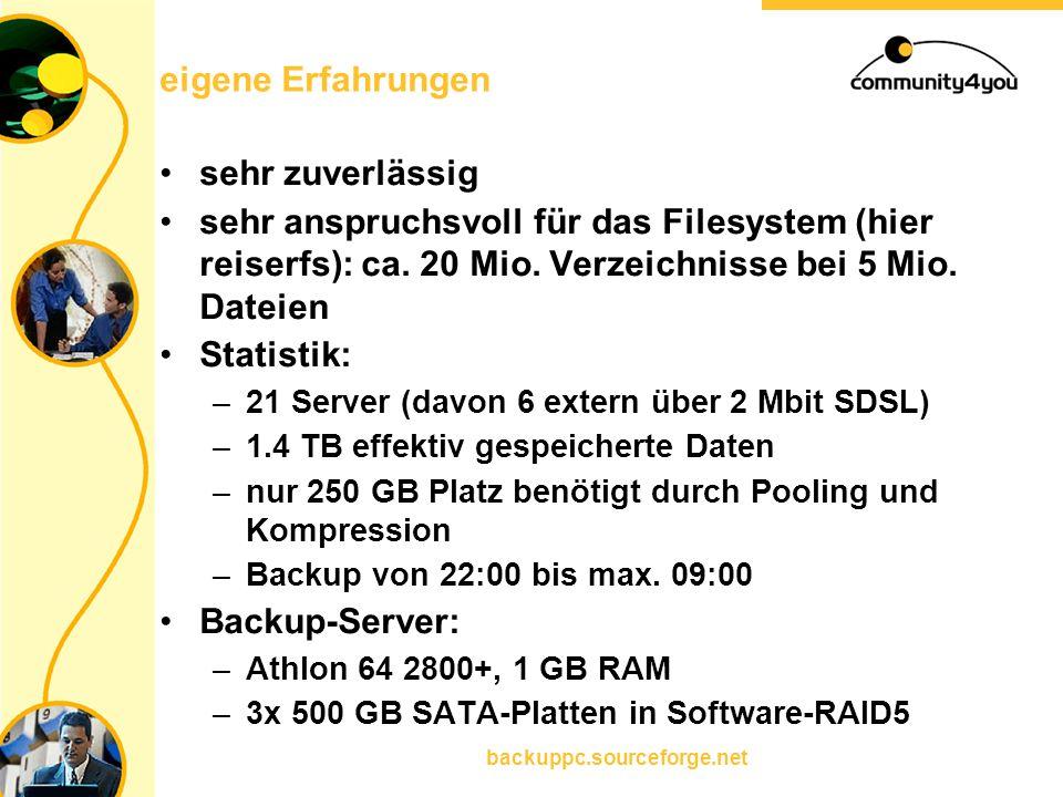 backuppc.sourceforge.net eigene Erfahrungen sehr zuverlässig sehr anspruchsvoll für das Filesystem (hier reiserfs): ca. 20 Mio. Verzeichnisse bei 5 Mi