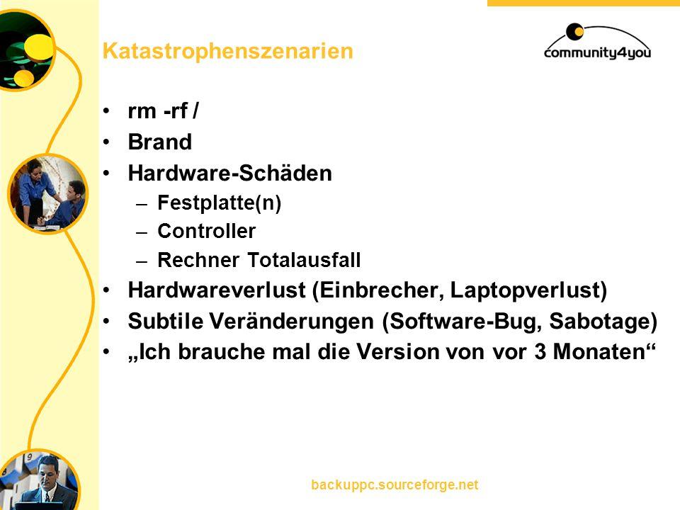 backuppc.sourceforge.net Katastrophenszenarien rm -rf / Brand Hardware-Schäden –Festplatte(n) –Controller –Rechner Totalausfall Hardwareverlust (Einbr