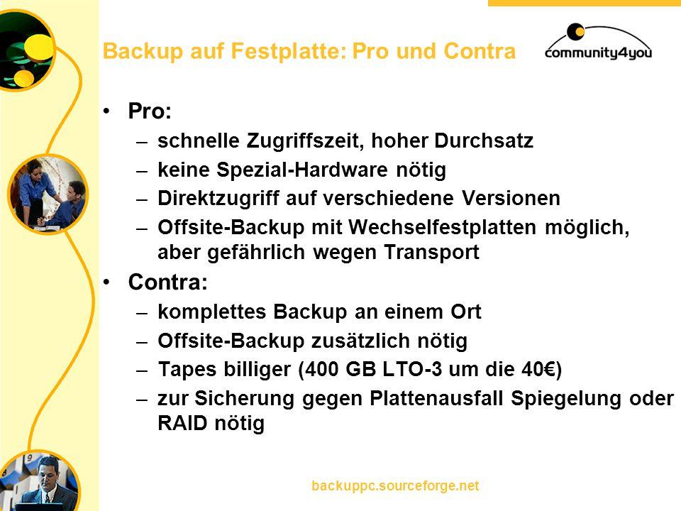 backuppc.sourceforge.net Backup auf Festplatte: Pro und Contra Pro: –schnelle Zugriffszeit, hoher Durchsatz –keine Spezial-Hardware nötig –Direktzugri
