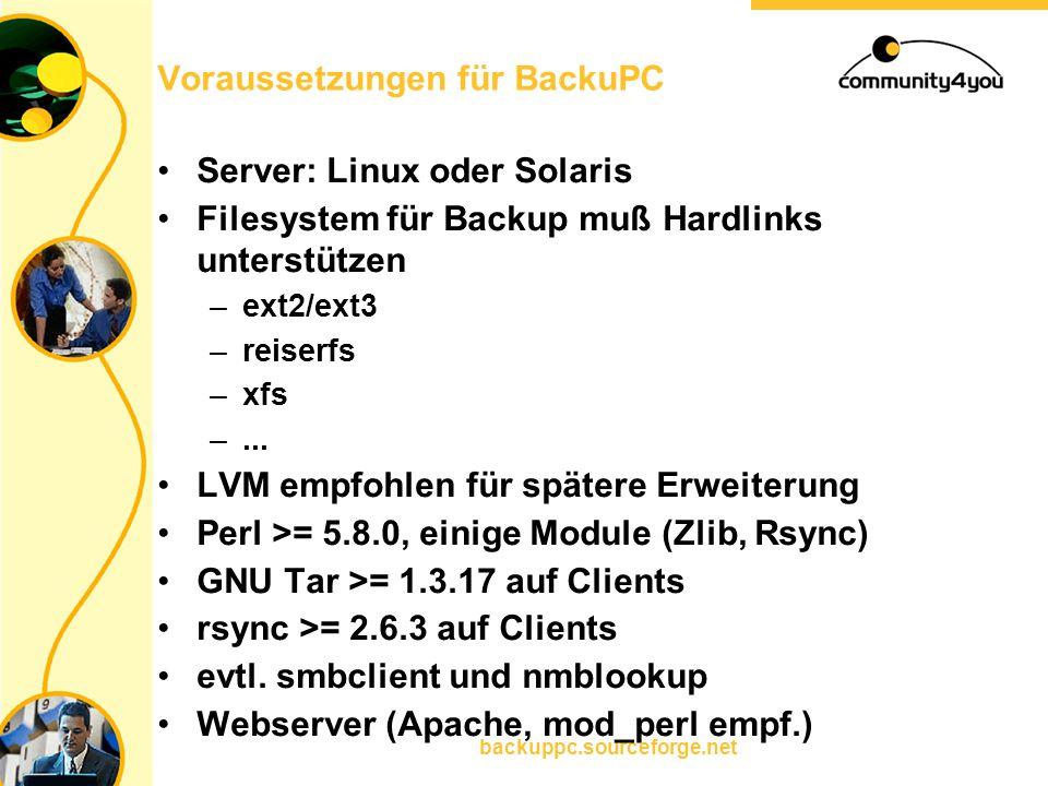 backuppc.sourceforge.net Voraussetzungen für BackuPC Server: Linux oder Solaris Filesystem für Backup muß Hardlinks unterstützen –ext2/ext3 –reiserfs