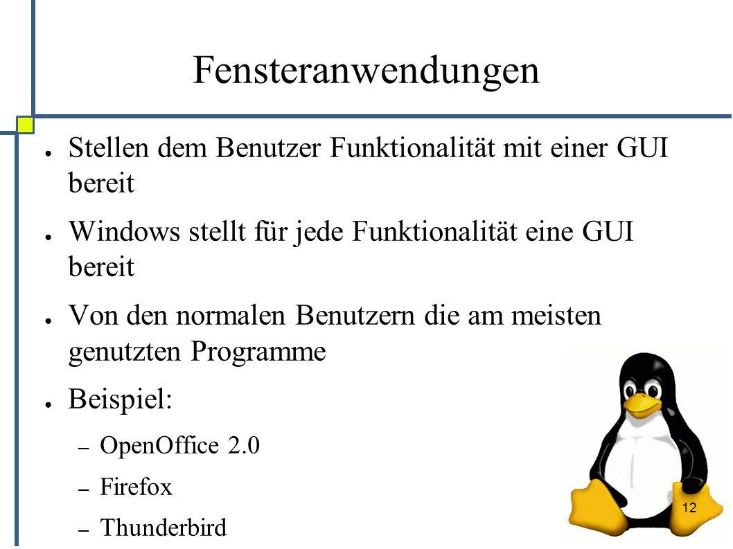 12 Fensteranwendungen ● Stellen dem Benutzer Funktionalität mit einer GUI bereit ● Windows stellt für jede Funktionalität eine GUI bereit ● Von den normalen Benutzern die am meisten genutzten Programme ● Beispiel: – OpenOffice 2.0 – Firefox – Thunderbird