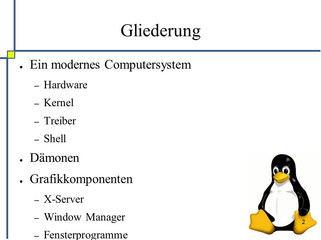 2 Gliederung ● Ein modernes Computersystem – Hardware – Kernel – Treiber – Shell ● Dämonen ● Grafikkomponenten – X-Server – Window Manager – Fensterpr