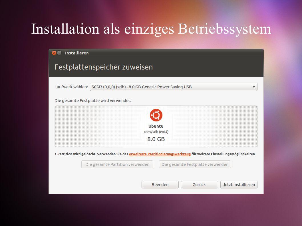 Installation als einziges Betriebssystem