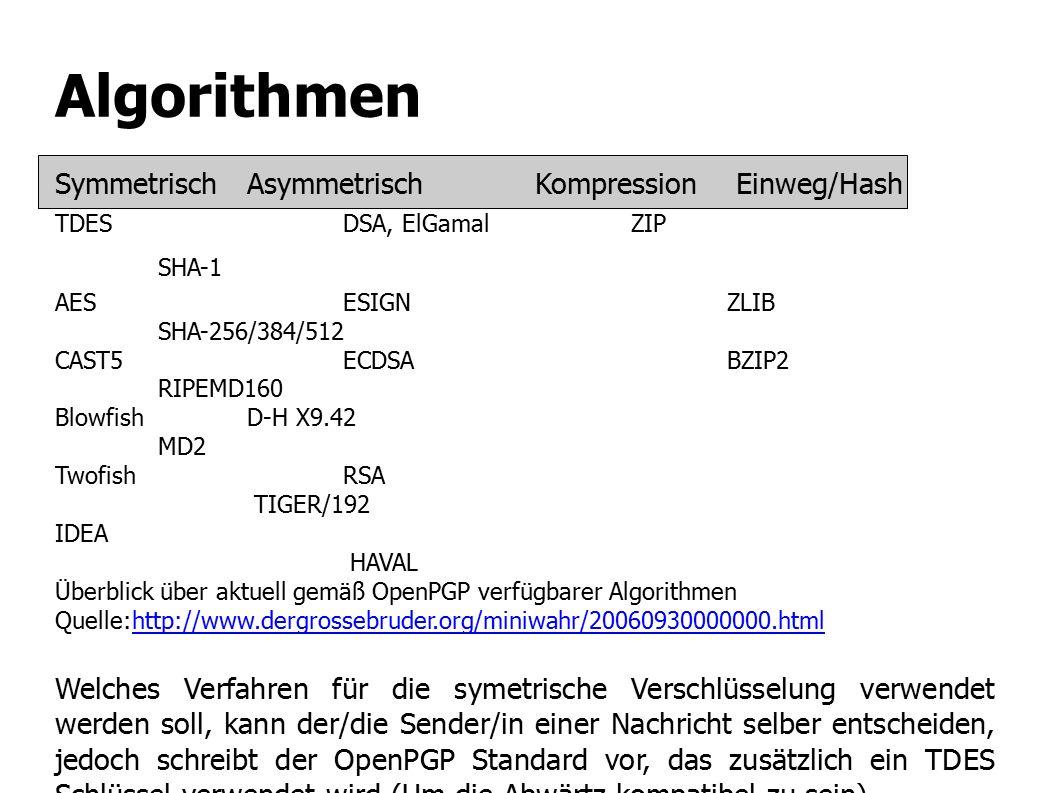 Algorithmen Symmetrisch Asymmetrisch Kompression Einweg/Hash TDES DSA, ElGamal ZIP SHA-1 AES ESIGN ZLIB SHA-256/384/512 CAST5 ECDSA BZIP2 RIPEMD160 Blowfish D-H X9.42 MD2 Twofish RSA TIGER/192 IDEA HAVAL Überblick über aktuell gemäß OpenPGP verfügbarer Algorithmen Quelle:http://www.dergrossebruder.org/miniwahr/20060930000000.htmlhttp://www.dergrossebruder.org/miniwahr/20060930000000.html Welches Verfahren für die symetrische Verschlüsselung verwendet werden soll, kann der/die Sender/in einer Nachricht selber entscheiden, jedoch schreibt der OpenPGP Standard vor, das zusätzlich ein TDES Schlüssel verwendet wird (Um die Abwärtz kompatibel zu sein).
