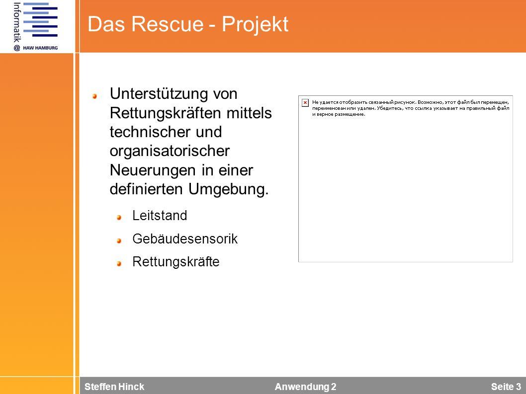 Steffen Hinck Anwendung 2 Seite 3 Das Rescue - Projekt Unterstützung von Rettungskräften mittels technischer und organisatorischer Neuerungen in einer definierten Umgebung.