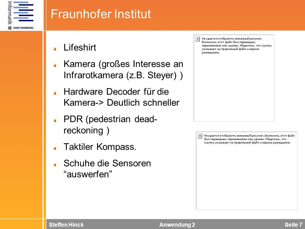 Steffen Hinck Anwendung 2 Seite 7 Fraunhofer Institut Lifeshirt Kamera (großes Interesse an Infrarotkamera (z.B. Steyer) ) Hardware Decoder für die Ka