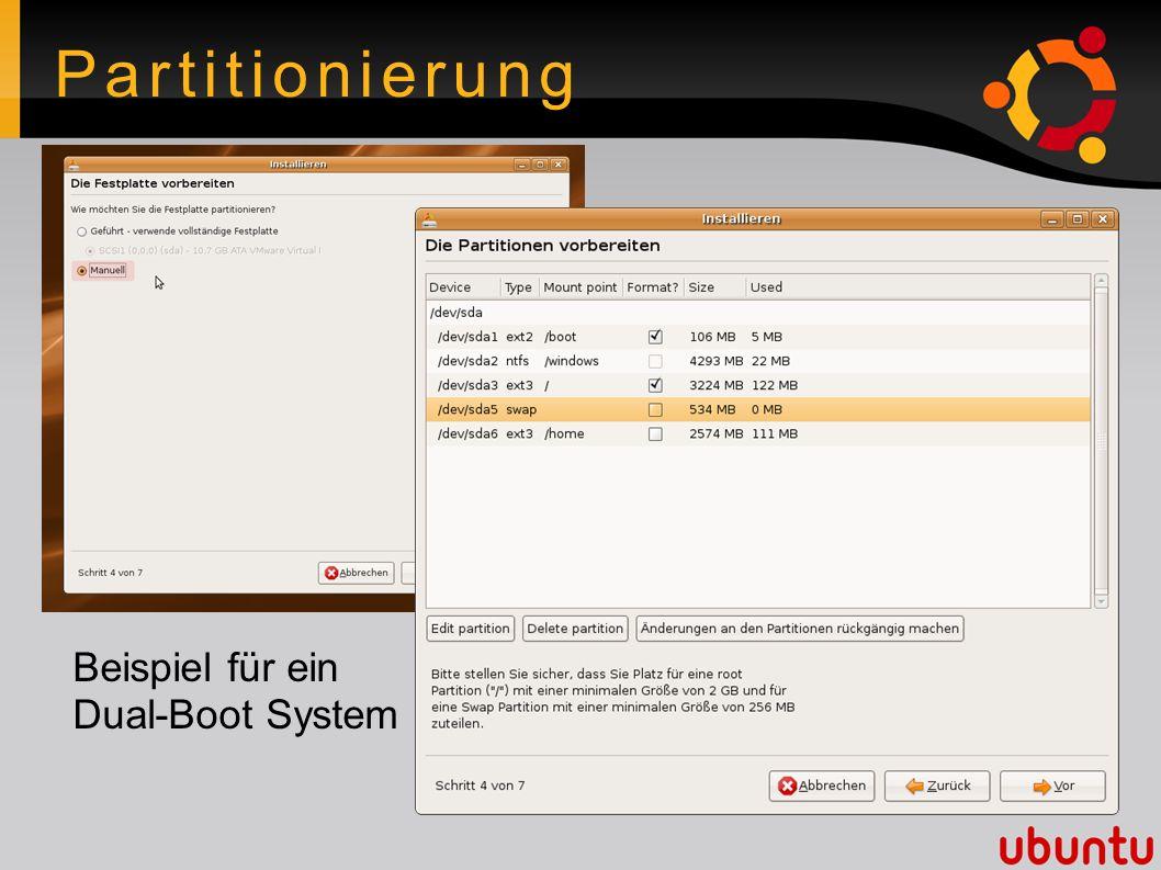 Partitionierung Beispiel für ein Dual-Boot System