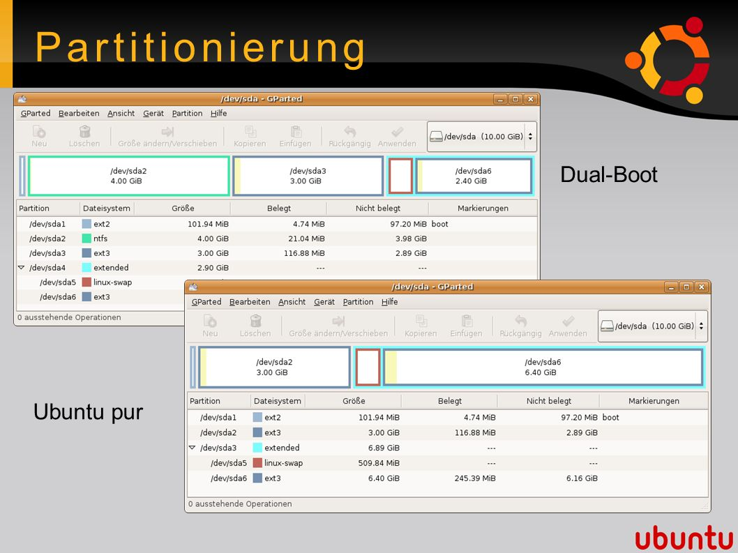 Partitionierung Dual-Boot Ubuntu pur