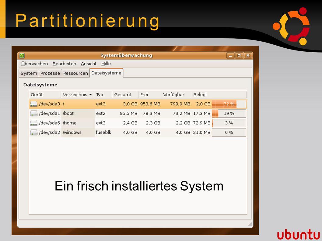 Partitionierung Ein frisch installiertes System