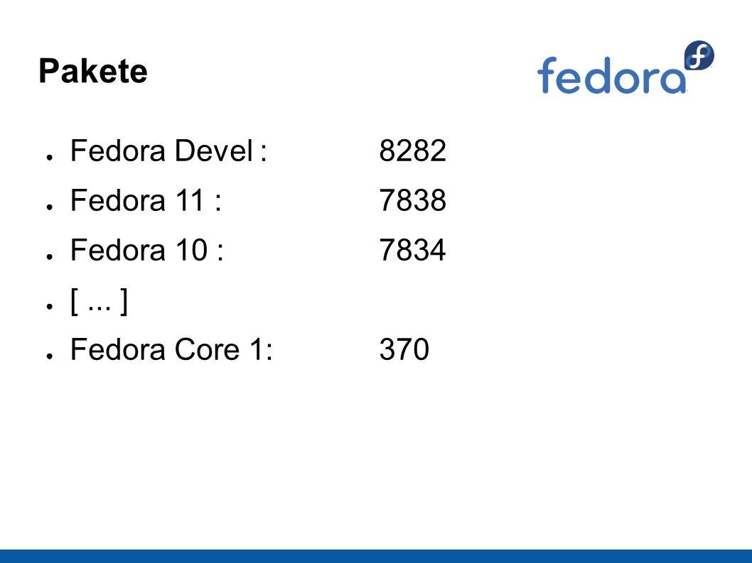 Pakete ● Fedora Devel :8282 ● Fedora 11 : 7838 ● Fedora 10 :7834 ● [... ] ● Fedora Core 1:370