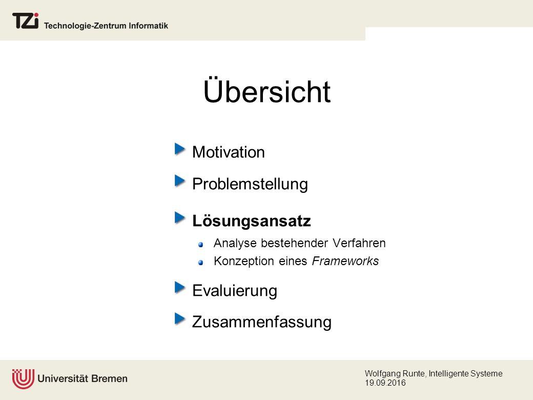Wolfgang Runte, Intelligente Systeme 19.09.2016 Übersicht Motivation Problemstellung Lösungsansatz Analyse bestehender Verfahren Konzeption eines Frameworks Evaluierung Zusammenfassung
